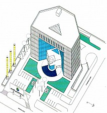 perspective drawing of the Saudi French Bank - Jeddah, Saudi Arabia